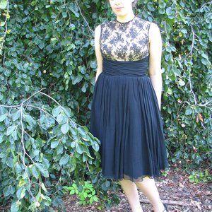 VTG 50's Handmade Chiffon Midi Dress w/Lace Bodice